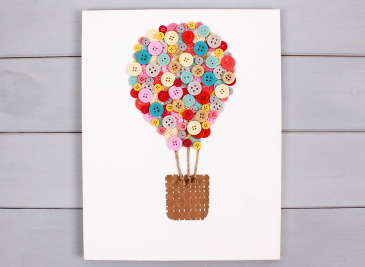How to Make an Air Balloon Button Canvas #Buttons #Homecraft