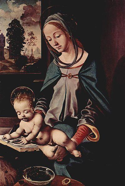 Piero di Cosimo (1462-1521) Madona com Menino lendo, 1485-1490,osm, 83 x 56 cm Konigliche Sammlung. estocolmo