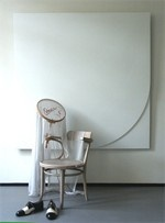 Marinus Boezem, The absence of the artist  1970-1995, signed and dated 1970 on the underside of the chair. wooden Thonet chair, cotton, embroidery silk and a pair of black and white shoes. 80 x 120 x 80 cm @ Borzo modern & contemporary art