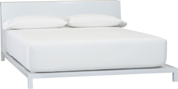 32 inches high, but 90 deep... won't work. alpine white bed in all furniture | CB2 $599