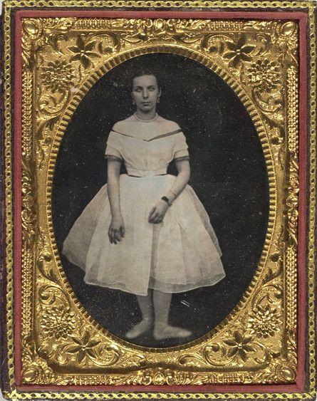 ca. 1850's, [daguerreotype portrait of a ballet dancer standing in the third position]