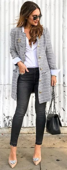 Grey Coat / White Shirt / Black Jeans / Nude Pumps