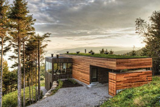 Malbaie V Residence - A project by MU architecture: Green Roofs, Idea, Dreams Houses, Building, Mu Architecture, Wood, Greenroof, Us, Modern Houses Design