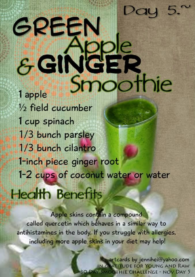 Day 5 - Young and Raw - Smoothie of the Day! http://www.youngandraw.com/young-and-raw-30-day-green-smoothie-challenge-recipes-for-november/
