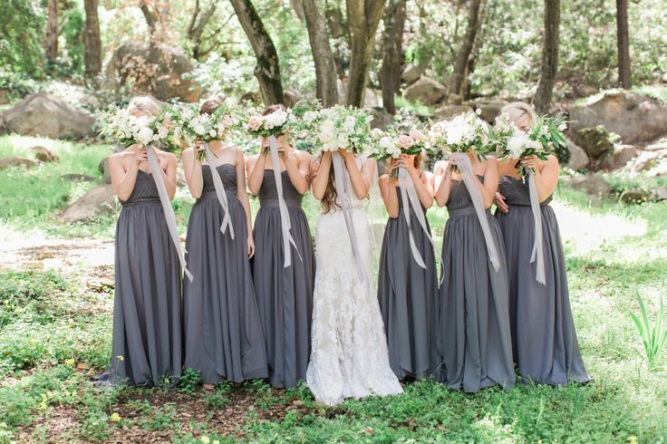 matching long strapless dark grey bridesmaid dresses | Muted Earth Tones Inspired This Wedding Day Design Read More on SMP: http://www.stylemepretty.com/2016/05/04//
