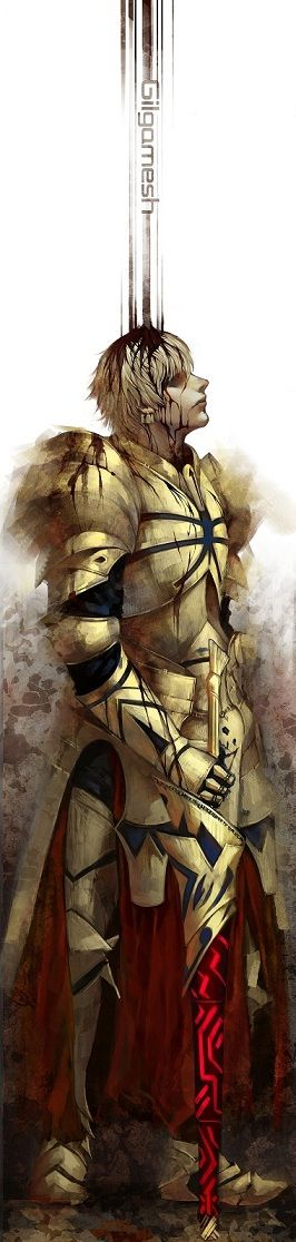 Gilgamesh,  is the Archer-class Servant of Tokiomi Tohsaka in the Fourth Holy Grail War of Fate/Zero. He later forms a new contract with Kirei Kotomine that lasts ten years later into the time of the Fifth Holy Grail War of Fate/stay night. Gilgamesh is the great half-god, half-human king born from the union between the King of Uruk, Lugalbanda, and goddess Rimat-Ninsun. He ruled the Sumerian city-state of Uruk, the capital city of ancient Mesopotamia in the B.C. era.