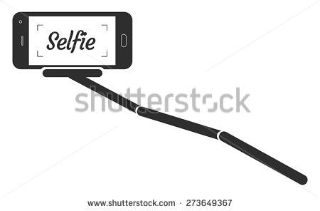 This image is a vector file representing a Monopod Selfie Portrait Smartphone App Vector Illustration./Monopod Selfie Portrait Smartphone App Vector/Monopod Selfie Portrait Smartphone Vector