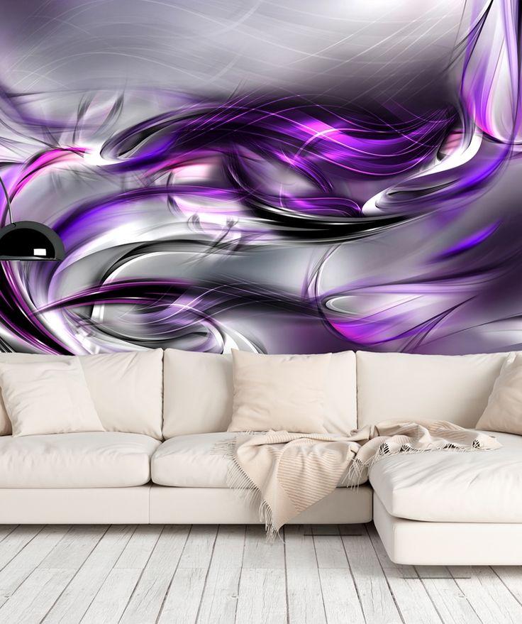 """Fototapete, Vlies Fototapete """"Purple swirls"""". Abstrakte Deko für moderne Einrichtung in grauen oder violetten Farben."""