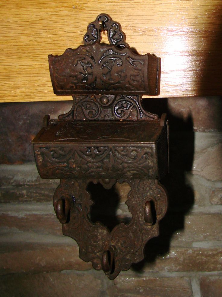 Antique Cast Iron Wall Match Holder With 3 Hooks For Keys