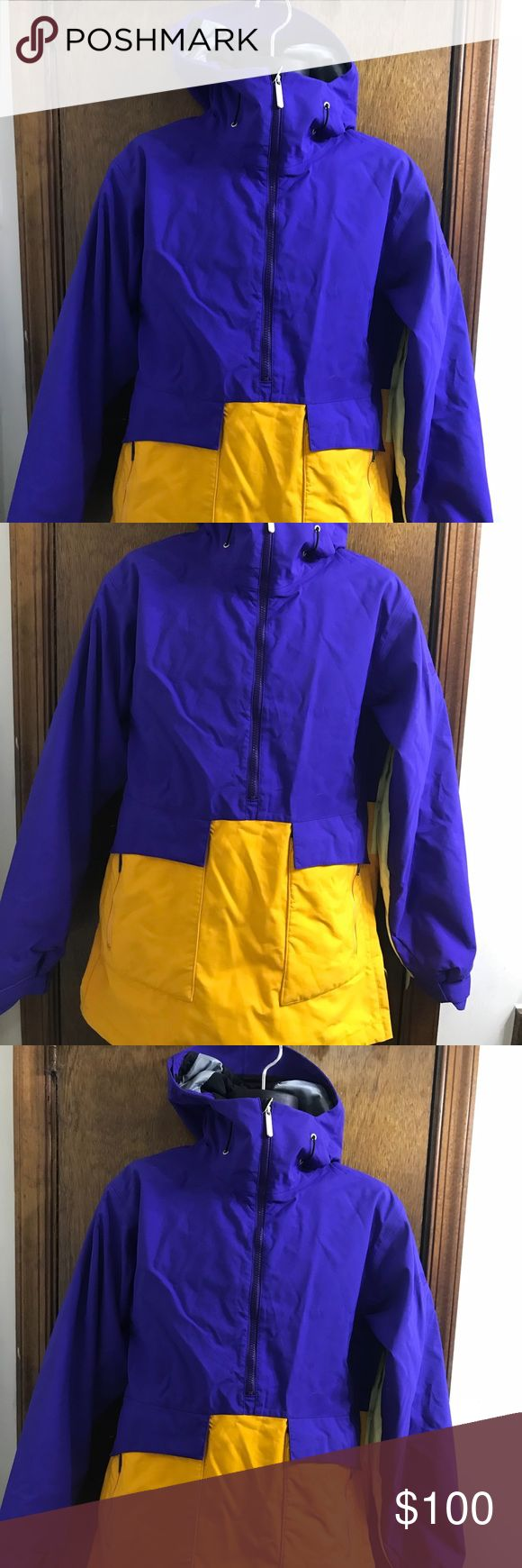"""Bonfire Snowboarding Company Strato Jacket Bonfire Snowboarding Company Strato Purple Yellow Orange Jacket Size Small Long Fit Style Strato Long fit Pit to pit 20"""" Sleeves 26"""" Shoulders 18"""" Length 31"""" bonfire snowboarding company Jackets & Coats"""