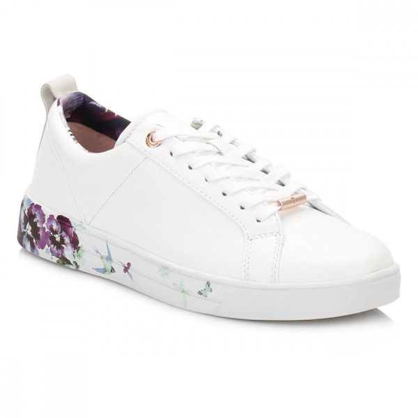 Womens White Barrica Trainers (470 PLN) ❤ liked on Polyvore featuring shoes, sneakers, mini sneakers, flower print shoes, floral shoes, white trainers and ted baker shoes