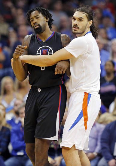 Oklahoma City's Steven Adams (12) intentionally fouls L.A.'s DeAndre Jordan (6) in the fourth quarter during an NBA basketball game between the Oklahoma City Thunder and Los Angeles Clippers at Chesapeake Energy Arena in Oklahoma City, Friday, Nov. 11, 2016. The Clippers won 110-108. Photo by Nate Billings, The Oklahoman