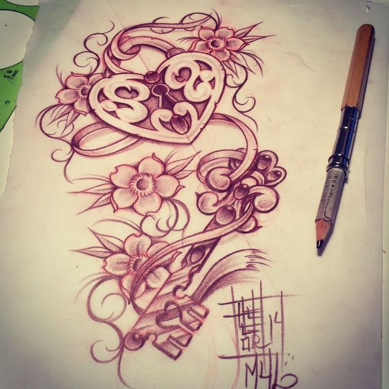 Heart locket with a key | My Sketches | Pinterest | Keys Heart locket ...
