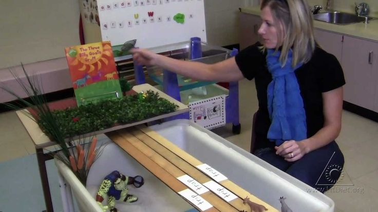 This teacher turned the sand/water table into a retelling scene for The 3 Billy Goats Gruff. I like the use of the yardsticks for the rickety old bridge!