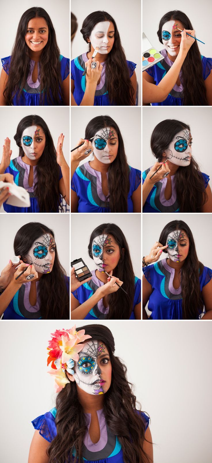 Try this sugar skull makeup tutorial for Halloween.