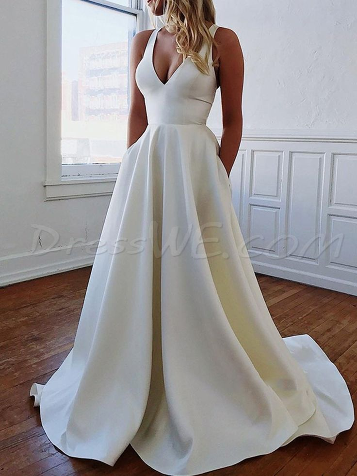 $126.99 Dresswe.com SUPPLIES Pockets Sleeveless Sweep/Brush V-Neck Beach Wedding Dress 2019