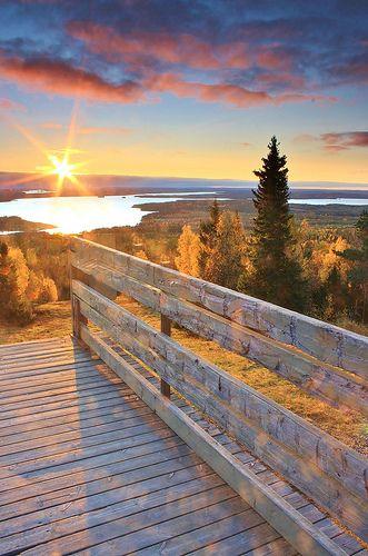 Sunrise on Vuokatti hill, Finland