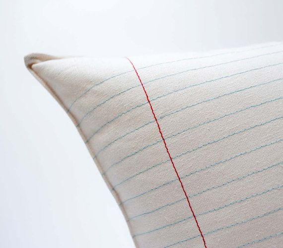 This is an awesome pillow for an office seating area.      lined paper pillow  large by pilosale on Etsy, $48.00