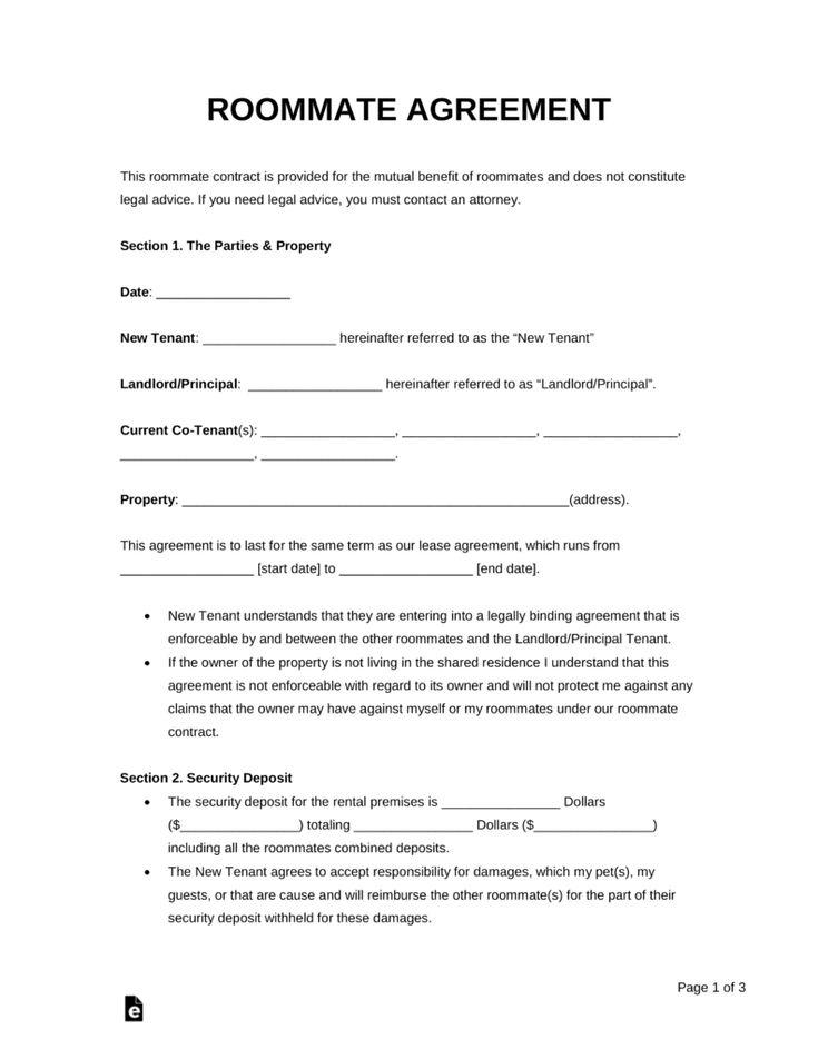 Free Roommate Room Rental Agreement Template Pdf Word
