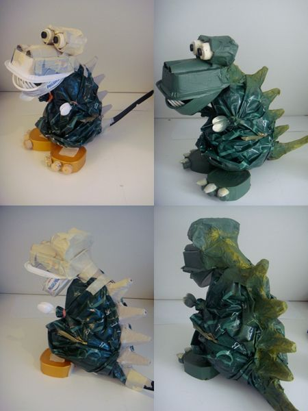 Dinosaur toy creation, all recycled junk