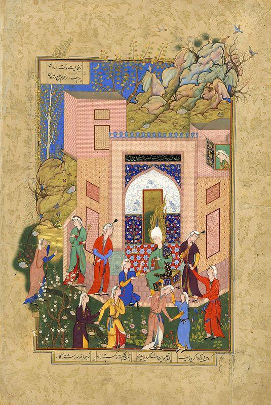 یوسف در باغ زلیخا با ندیمه های او، منسوب به شیخ محمد، مشهد، 1560 میلادی، گالری هنر فریر TITLE:Yusuf Preaches to Zulaykha's Maidens in Her Garden OWNER:Freer Gallery of Art COUNTRY OF ORIGIN:Iran DATE OF CREATION:1560 AD