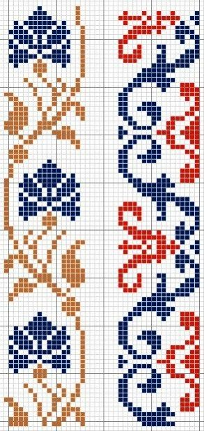 Left pattern could be adapted to a 3- or 4-color double-knit with only slight changes. Right pattern would work as double-knit if changed to one pattern color + bg.