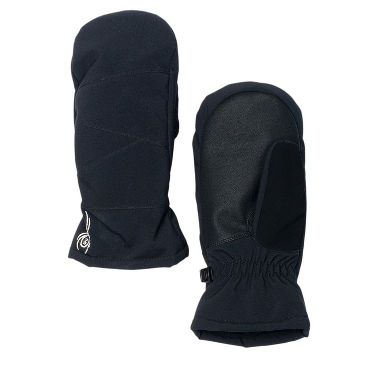 Spyder Girls Astrid Mittens, Large, Black. Spyder Xt.L waterproof insert. Over the cuff gauntlet. Soft chamude nose wipe on thumb.