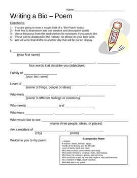 bio poems examples | Bio-Poem Template with Example