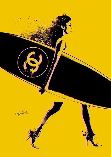NO.544 キャンバス 727×606mm シャネル サーフ ボード CHANEL SURF BOARD モチーフ パロディアート セレブ インテリア ポップアート オマージュアート ブランドオマージュ | MakeSenseLLC