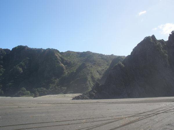 "at Karekare beach; where they filmed ""The Piano"""