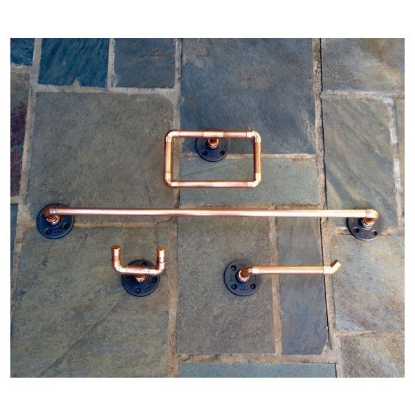 Industrial Bathroom Accessories, Set 4 PC, Copper Pipe Towel Bar, Robe... ($169) ❤ liked on Polyvore featuring home, bed & bath, bath and bath accessories