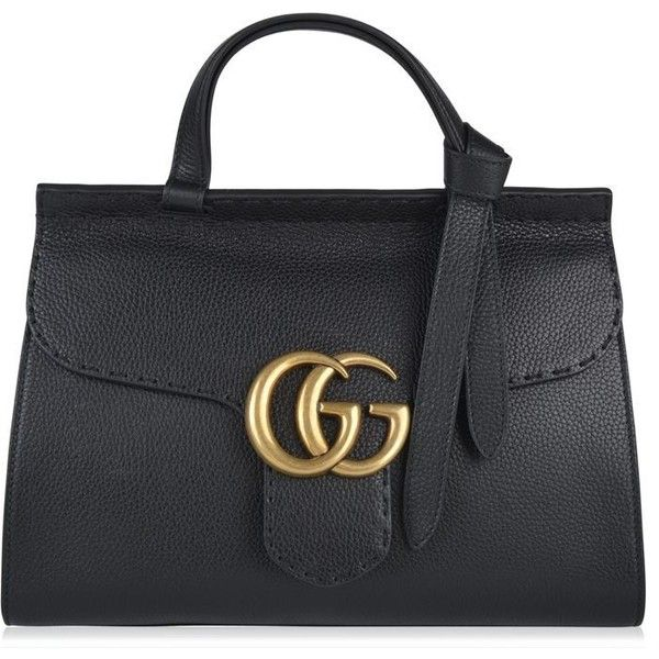 Gucci Marmont Gg Tote found on Polyvore featuring bags, handbags, tote bags, black, tote purses, structured tote, leather handbag tote, gucci purses and genuine leather tote bag