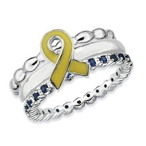 Sterling Silver Stackable Expressions Down Syndrome Awareness Ribbon Ring Set   I WANT THIS!!!!