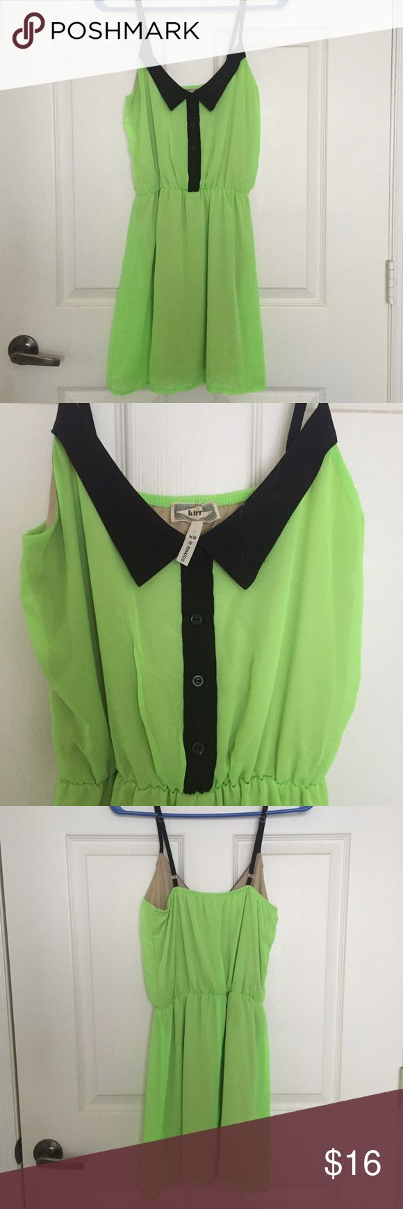 Kirra Neon green dress Cute, collared neon green dress • Has adjustable straps • Lined with a tan color so it's not see-through • XS • Great condition Kirra Dresses