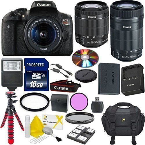 Canon EOS Rebel T6i Digital SLR Camera Bundle with EF-S 18-55mm IS STM Lens + 55-250mm IS STM Zoom Lens + Commander 3pc Filter Kit + Commander 16GB Memory + 6pc Starter Kit + 14pc Canon Bundle. 24.2 Megapixel CMOS (APS-C) sensor, ISO 100-12800 (expandable to H: 25600). EOS Full HD Movie mode helps capture brilliant results in MP4 format. High-speed continuous shooting up to 5.0 fps allows you to capture fast action. 19-point all cross-type AF system allows superb autofocus performance....