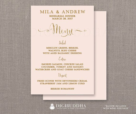 REHEARSAL DINNER MENU Blush Pink & Gold Glitter Bridal Shower Bohemian Wedding Elegant Formal Hen Party Whimsical Modern menus available at digibuddha.com