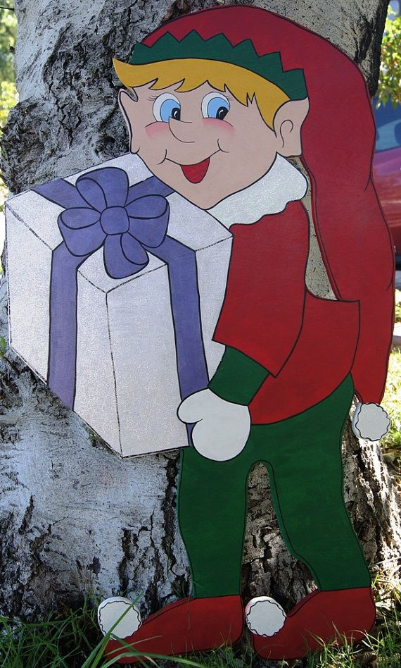 Christmas Elf with Present Wood Sign Yard Art von Cherables