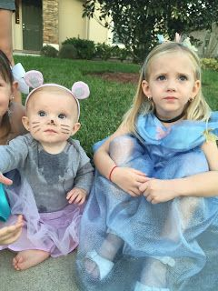 Cinderella & her little mouse Gus Gus! Halloween costume 2015. Sister coordinating costumes.