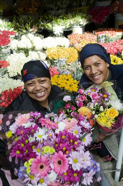Colourful flower sellers, Cape Town.