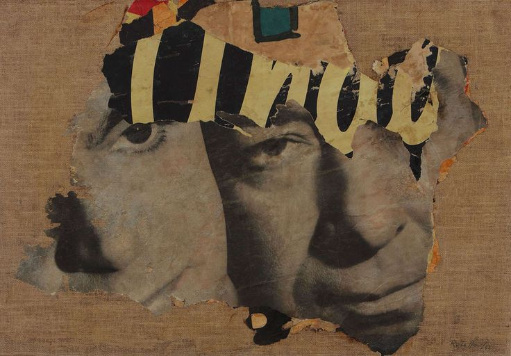 I Due Visi, decollage on canvas - Mimmo Rotella, 1962