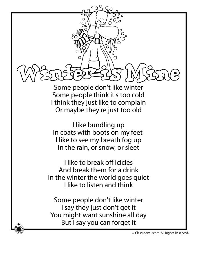 Winter Kids Poems Winter is Mine Kids Poem – Classroom Jr.