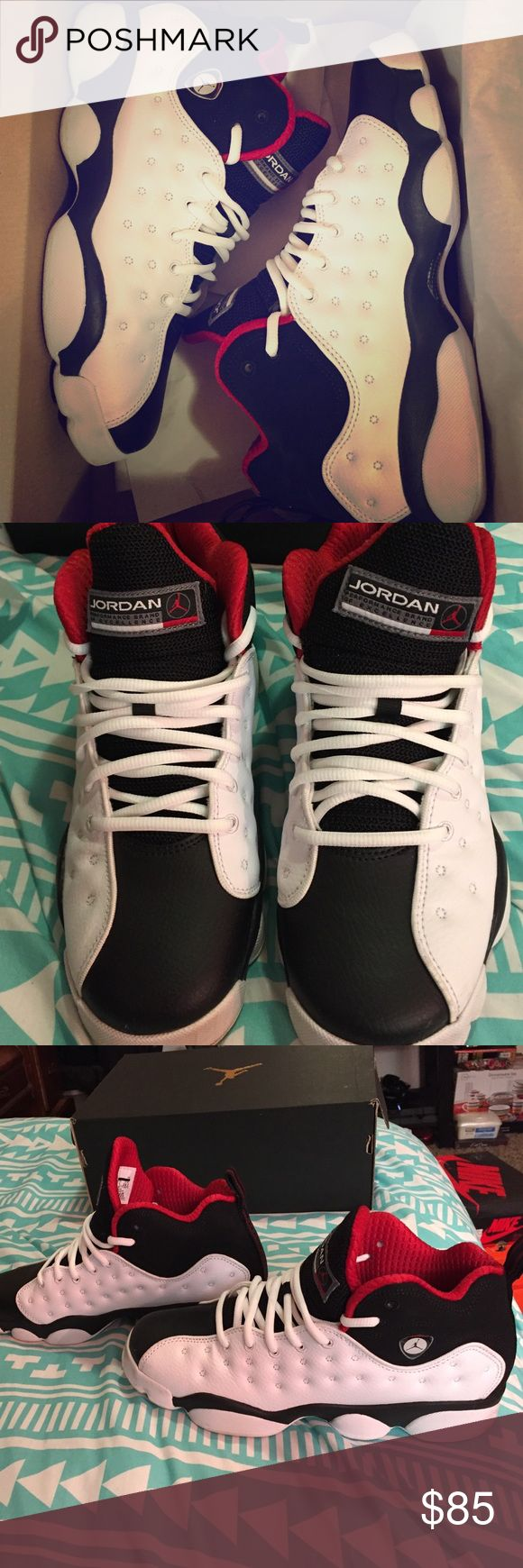 Jordan Jumpman Team 2 BG  Jordan Jumpman Team 2 BG. Black, white, and varsity red. Size 6.5 Y. Fits like a 8-8.5 in women's. Only worn once. The soles are dirty, but otherwise in good condition. Willing to trade & open to offers. Jordan Shoes Sneakers