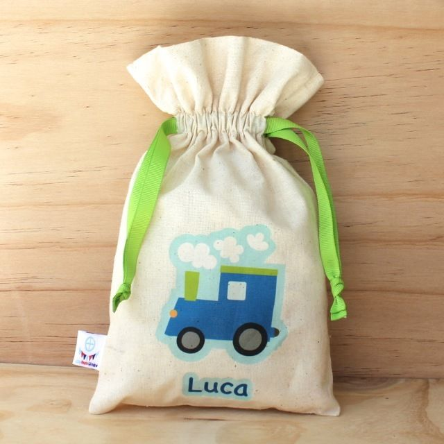 Blue Train Calico Drawstring Bag