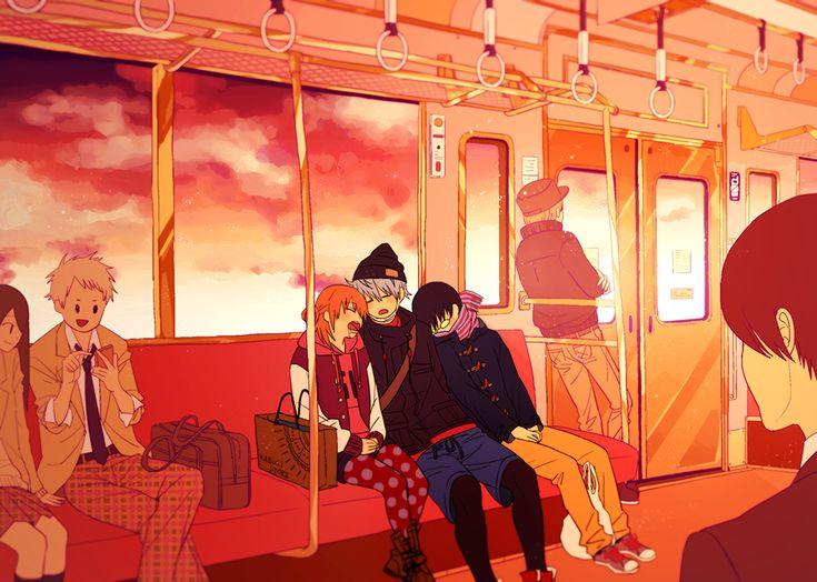 Pixiv Id 14791009, Gin Tama, Sakata Gintoki, Kagura (Gin Tama), Shimura Shinpachi, Sleeping Upright
