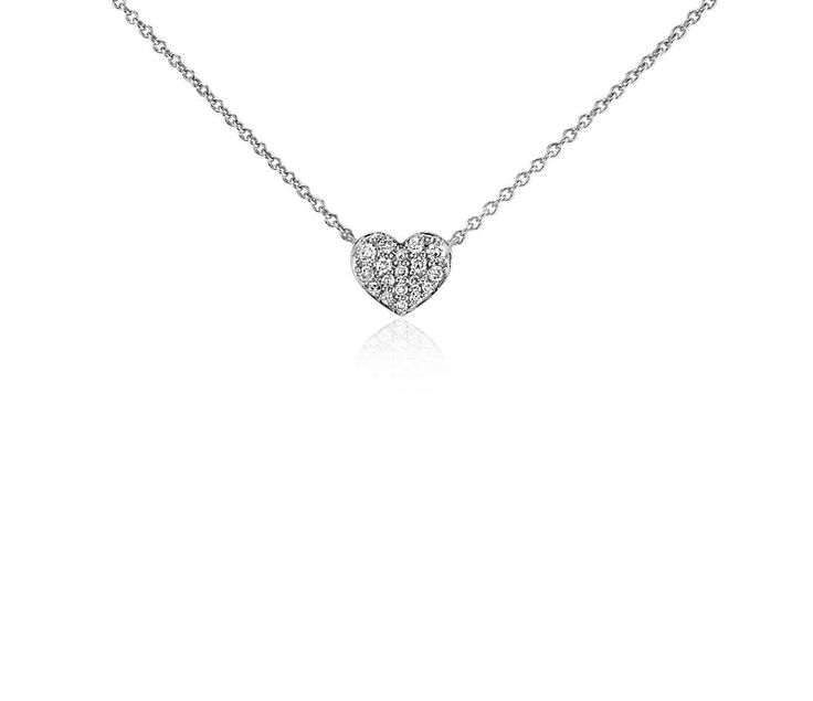 Mini Diamond Heart Necklace in 14k White Gold from the Braxton's