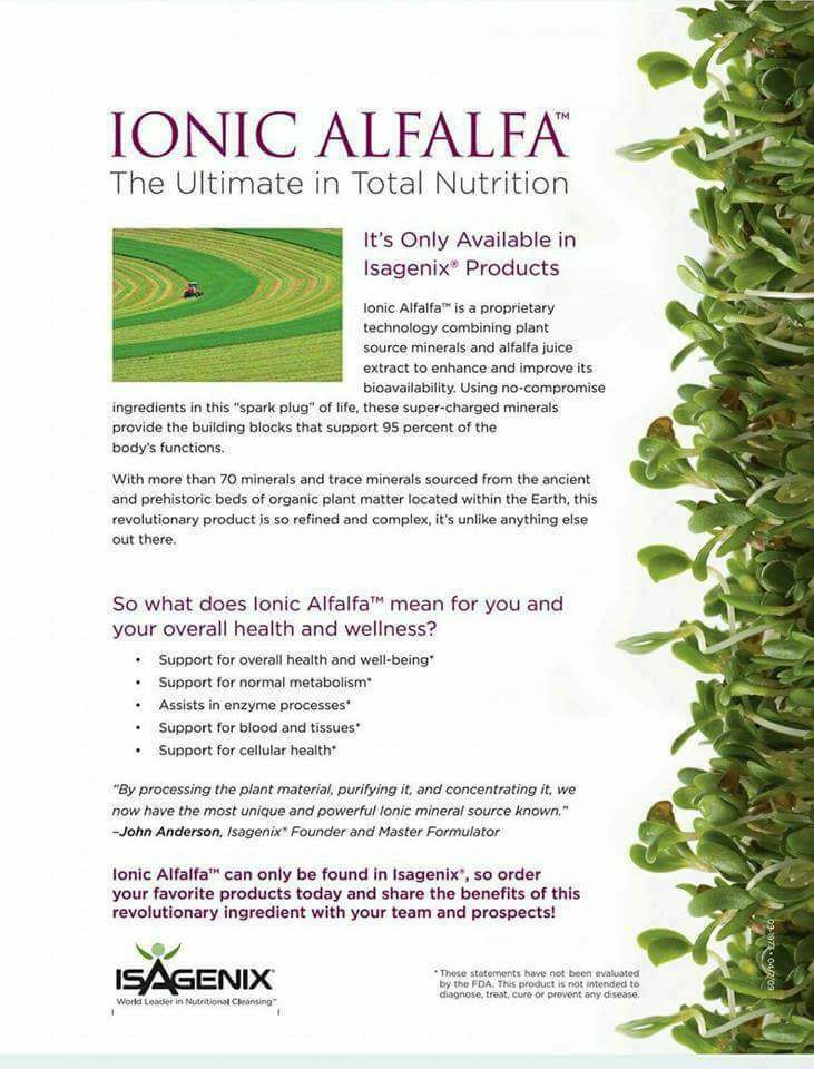 If you've ever looked on your Isagenix ingredient label and seen Ionic Alfalfa now you can learn all about this incredible technology! And it's ONLY available in OUR products!!!