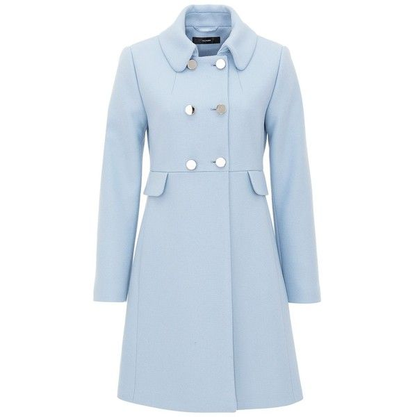 Hallhuber Flat woven fabric retro-inspired coat found on Polyvore featuring outerwear, coats, jackets, casaco, coats & jackets, light blue, women, faux wool coat, woolen coat and double breasted woolen coat