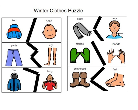 "*****Winter Clothes Puzzles - Print on cardstock and laminate; Good for body parts and ""where"" questions."
