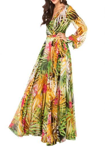 European Style V Neck Lantern Sleeve Print Dress  on sale only US$42.83 now, buy cheap European Style V Neck Lantern Sleeve Print Dress  at modlily.com