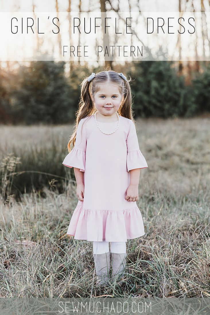 Sew an adorable dress with this free girl's ruffle dress pattern! Design has ruffle sleeves, a ruffle hem, and a sweet A-line shape!